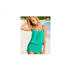 ชุดว่ายน้ำทูพีช แบบเสื้อสายเดี่ยว กับ กางเกง สามารถดึงเสื้อลง ปิดกางเกง และ ใส่เดินทะเลได้เลย สีเขียว no 50102